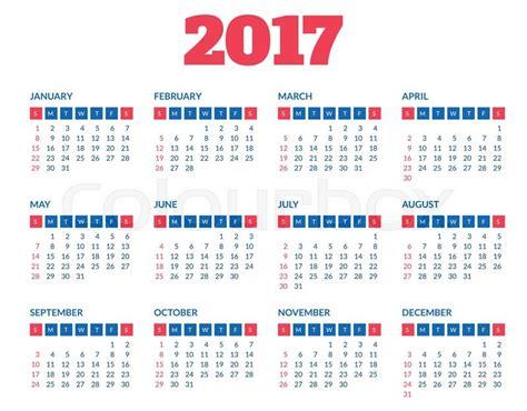 Calendario Can 2017 Simple 2017 Year Calendar Clean Modern Flat Style
