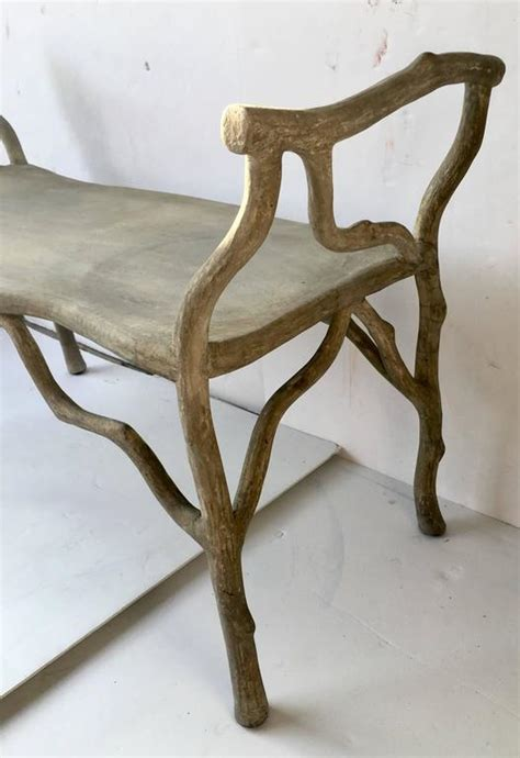 faux concrete bench faux bois concrete quot twig quot bench at 1stdibs