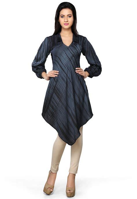 Spesial Yasmina Tunik Grey Diskon 30 printed modal silk asymmetric tunic in grey and black thu307