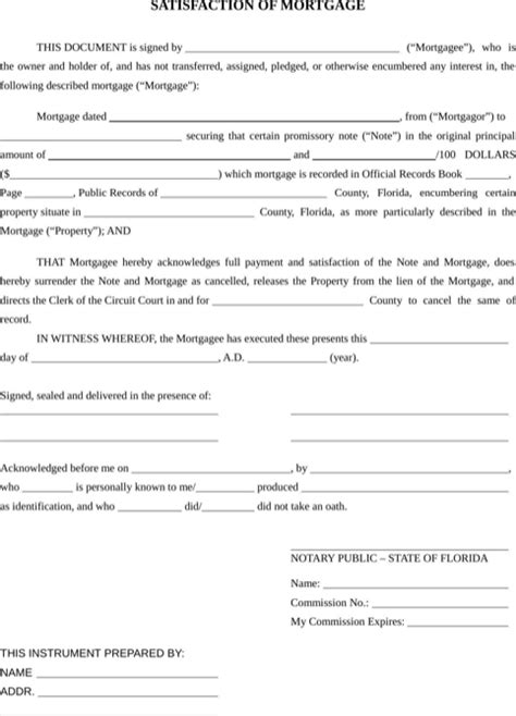 Mortgagee Letter Non Traditional Credit Florida Satisfaction Of Mortgage Form For Free Formtemplate