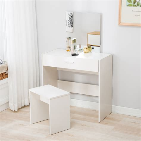 Dressing Table Vanity Vanity White Dressing Table Stool Set Makeup Dresser Desk With Mirror Drawer Ebay