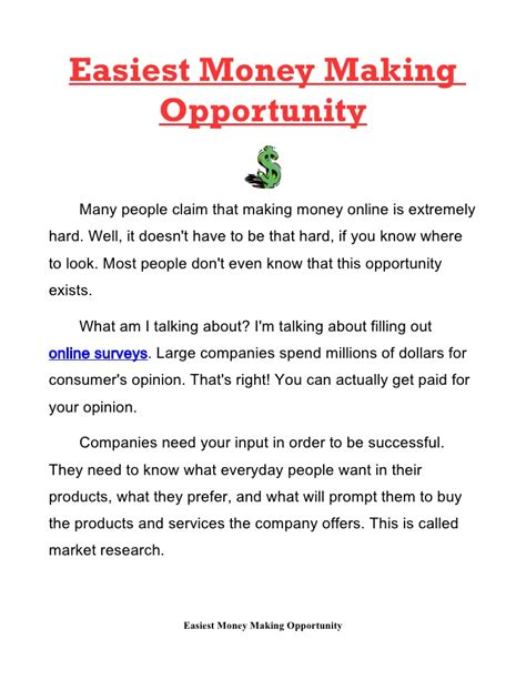 Online Money Making Opportunities - easiest money making opportunity