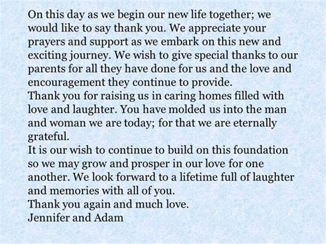 thank you letter to s parents after wedding a message from the and groom to their parents