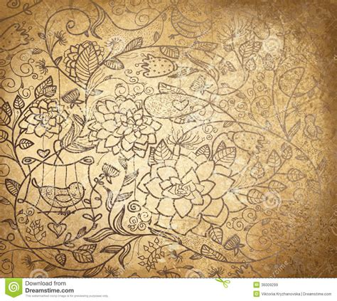 old pattern ai vector abstract floral pattern on old paper backgr royalty