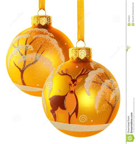 two yellow christmas balls stock photos image 27658353