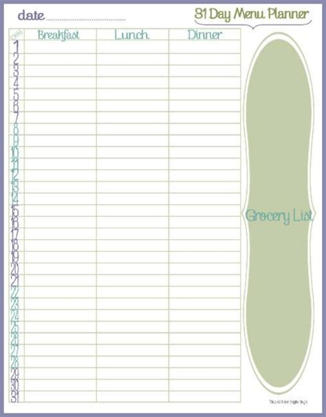 editable meal planner vertola