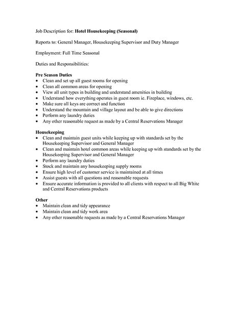 Resume Responsibilities by Hospital Housekeeping Duties Resume Resume Ideas