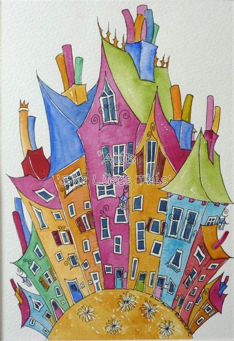 colorful houses painting 1718 best aquarelle images on