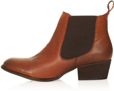 topshop alter mid heel chelsea boots in brown lyst