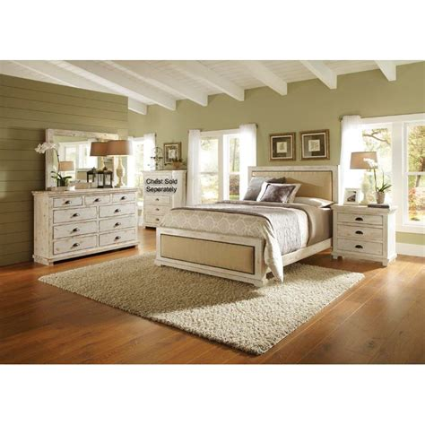 willow white 6 cal king bedroom set