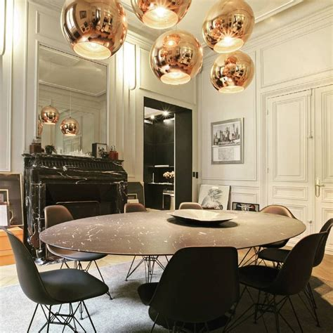 black and white dining room the gold orb