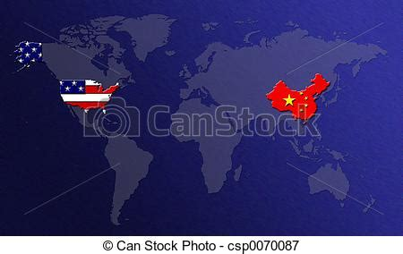 map of usa vs china stock illustrations of world map china vs usa csp0070087