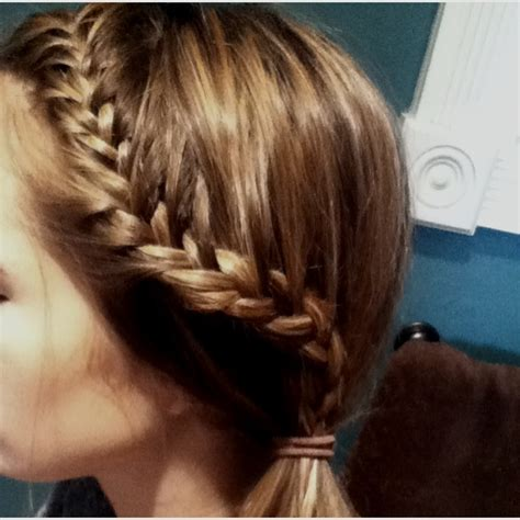 braided hairstyles side ponytail tight french braid into side ponytail haiiir pinterest