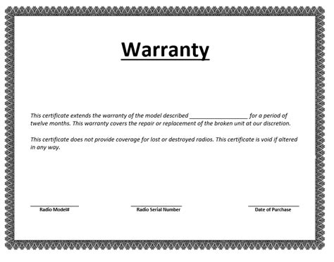 Guarantee Certificate Letter One Year Printable Warranty Templates Calendar Template 2016