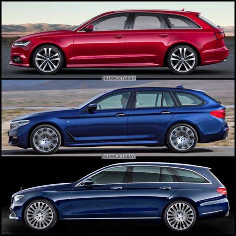 Audi A6 Vs Bmw 5 by Bmw 5 Series Touring Vs Mercedes E Class Estate Vs