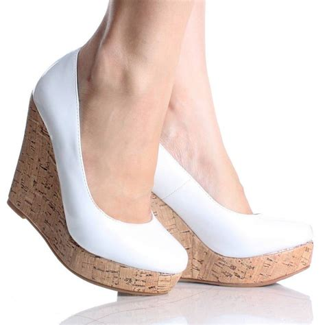 white high heel wedges white cork wedges shoes
