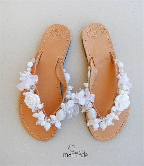 Bridal shoes   Handmade leather wedding flip flops