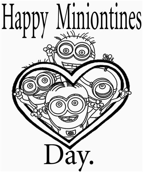 Minions Valentines Coloring Pages | free coloring pages printable pictures to color kids
