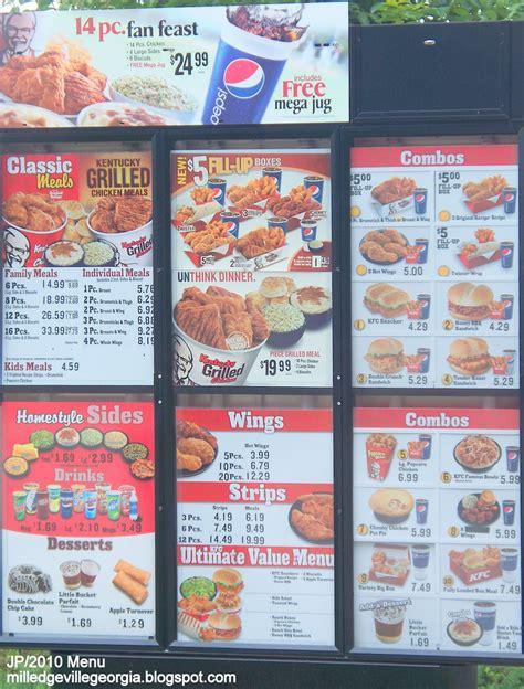 drive thru kfc menu image gallery kentucky fried chicken menu