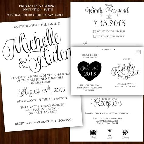 posh invitation template printable wedding invitation classic calligraphy suite