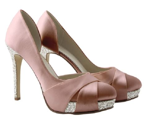 baby pink satin and glitter platform shoes wedding shoes