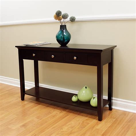 Espresso Console Table Donnieann Ferndale Espresso Storage Console Table 355658 The Home Depot