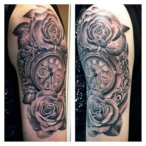 pocket watch and roses tattoo 100 unique tattoos