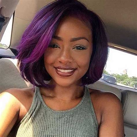 purple hair for black women 25 black girls with bobs bob hairstyles 2017 short