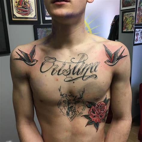 mystic tattoo dos golondrinas y una rosa tradicional a color by delfoco