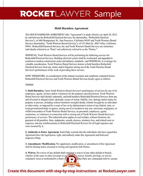 Release And Hold Harmless Letter hold harmless agreement template letter with sle