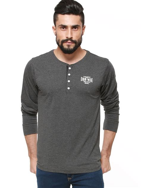 buy flying machine henley neck t shirt in sleeves for