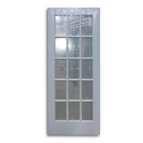 milette interior french door primed with 15 lites clear interior french door primed white 15 lite 32 quot w home