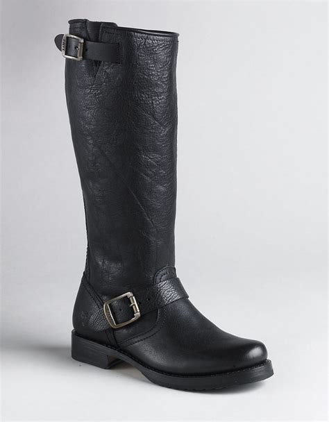 frye slouch leather boots in black lyst