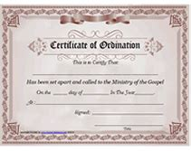 Ministry Of The Gospel Templates Free Printable Certificate Of Ordination Minister License Template