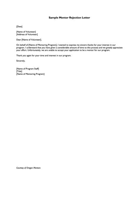 sample mentor rejection letter template printable