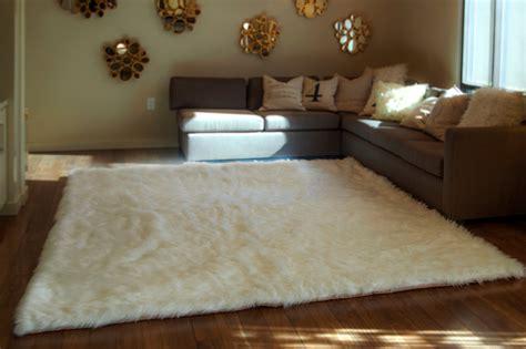 fellimitat teppich 10 x 12 white shaggy fur faux fur rug rectangle