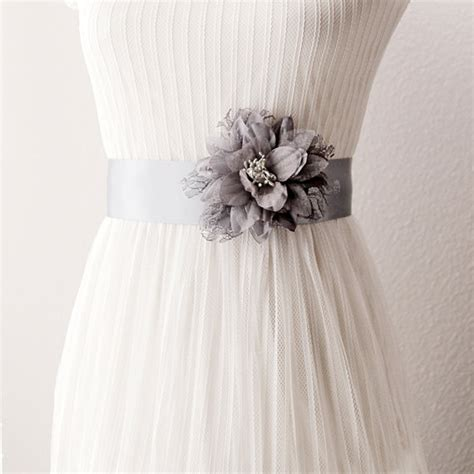 bridal couture silver grey lace flower ribbon sash belt