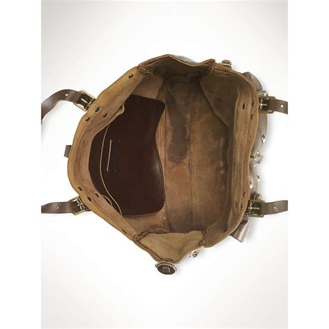 ralph lauren studded leather mirror chairish ralph lauren studded moto leather tote in brown lyst
