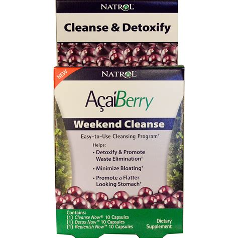 Acai Berry Detox Cleanse Review by Natrol Acaiberry Weekend Cleanse 3 Part Program Iherb