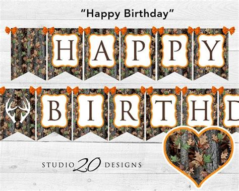 printable camo birthday banner instant download camo happy birthday banner hunter orange
