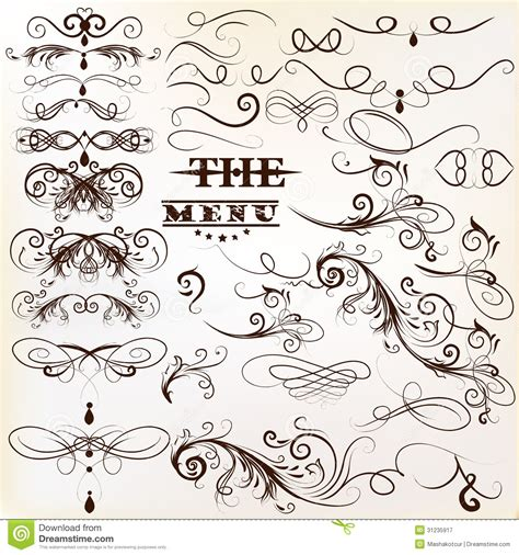 stock vector calligraphic design elements download calligraphic vector vintage design elements and page
