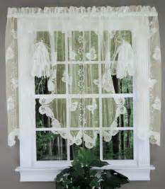 Kitchen Curtains Swags Butterflies Lace Fan Swag White Sku Kitchen Valances