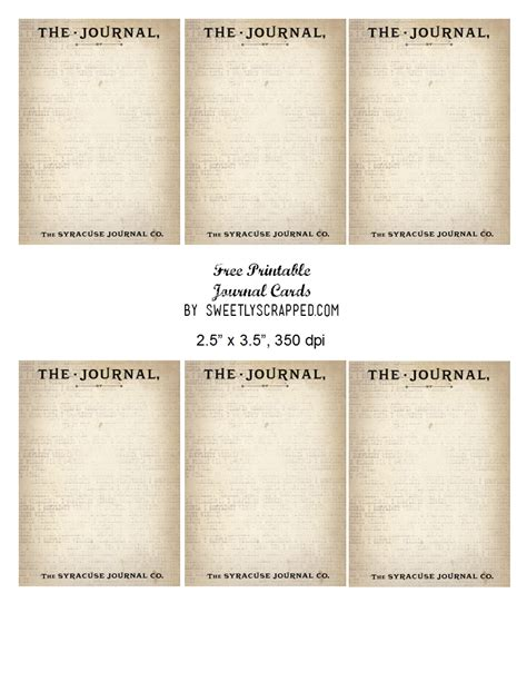 Journaling Cards Template by Sweetly Scrapped Free Printable Journal Cards