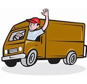 Chauffeur De Camion Waving Circle Cartoon La Livraison