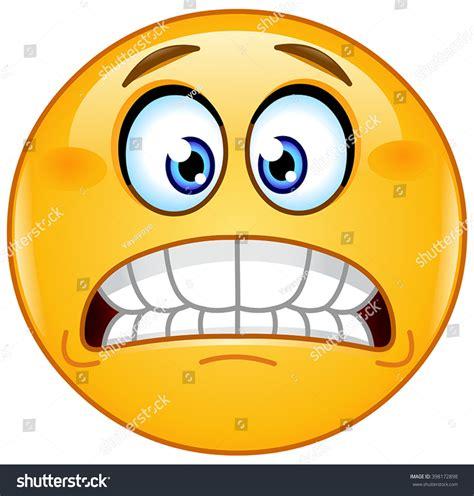 emoji eek grimacing emoticon showing bared teeth stock vector