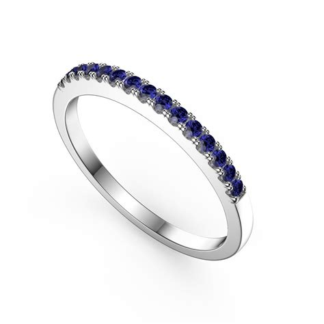 promise sapphire platinum plated silver half eternity ring