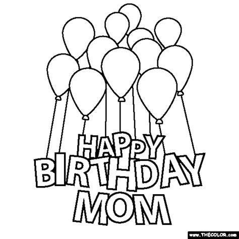 free coloring pages that say happy birthday happy birthday mom coloring pages