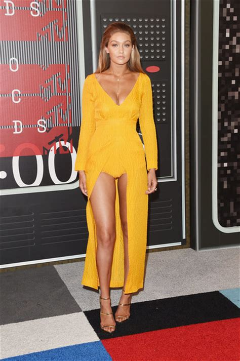 Gigi Hadid Neckline Dress dress slit dress gown prom dress plunge dress plunge