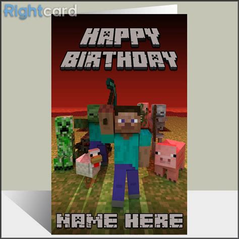 how to make a minecraft birthday card rightcard custom minecraft inspired birthday card