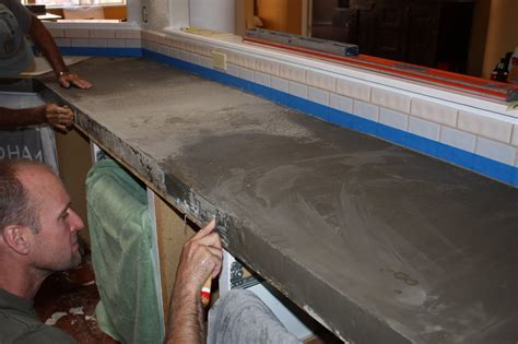 How To Do Cement Countertops by Install Of Concrete Countertops Kitchen Remodel